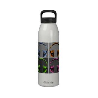 Four Graphic Headphones Reusable Water Bottles