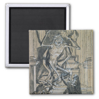 Four Grave Robbers awaken a Ghost 2 Inch Square Magnet