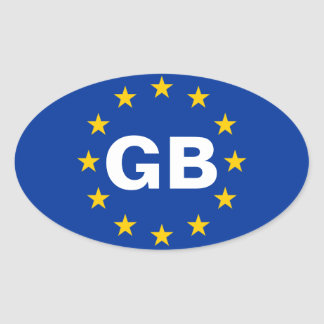 "FOUR Great Britain ""GB"" European Union Flag Oval Sticker"