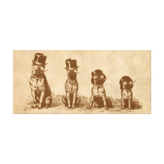 Four Grumpy Hipster Bull Dogs Vintage Sepia Art Canvas Print