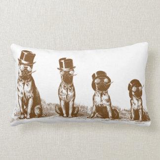 Four Grumpy Hipster Bull Dogs Vintage Sepia Lumbar Pillow