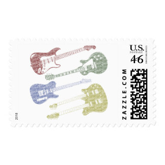 Four Grunge Guitars Stamps
