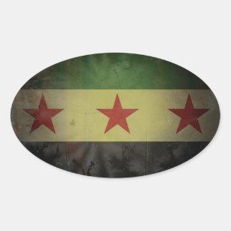 FOUR Grungy Syria Flag Oval Sticker