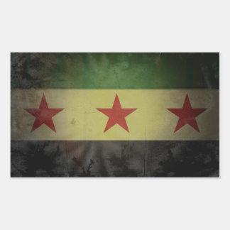 FOUR Grungy Syria Flag Rectangular Sticker