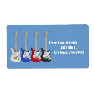 Four guitars, address label