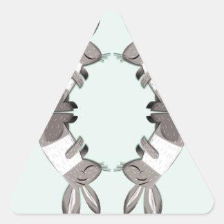 Four happy rabbits triangle sticker