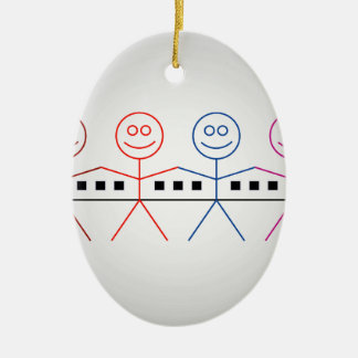 Four happy stick figures with house ceramic ornament