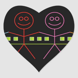 Four happy stick figures with house heart sticker