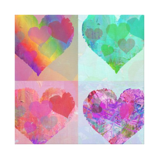 FOUR HEARTS CANVAS cute abstract Gallery Wrap Canvas