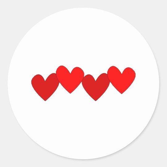 Four Hearts Classic Round Sticker
