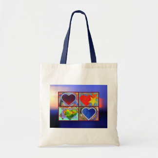 Four Hearts in an Abstract Sky bag