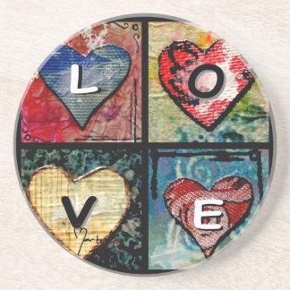 Four Hearts in Mixed Media - LOVE Sandstone Coaster