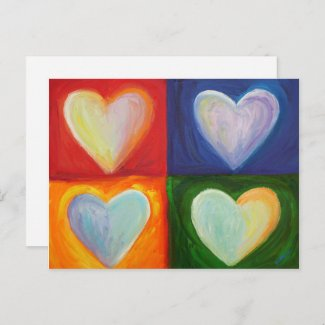 Four Hearts Love Personalized Art Postcards