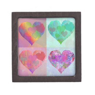 FOUR HEARTS RAINBOW DESIGN GIFT BOX cute abstract Premium Jewelry Box