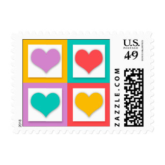 """Four Hearts That Say """"I Love You"""" Postage"""