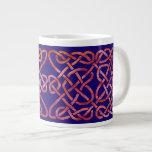 Four Heats Knot Red on Blue Large Coffee Mug