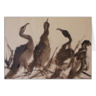 Four Herons On The Beach; watercolor notecard