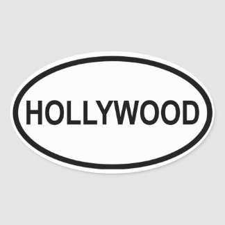 FOUR Hollywood Florida Oval Stickers