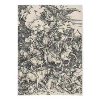 Four Horsemen of the Apocalypse by Durer 5x7 Paper Invitation Card