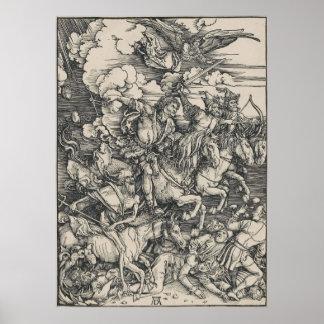 Four Horsemen of the Apocalypse by Durer Poster