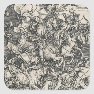 Four Horsemen of the Apocalypse by Durer Square Stickers