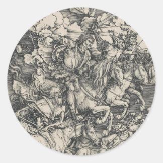 Four Horsemen of the Apocalypse by Durer Round Stickers