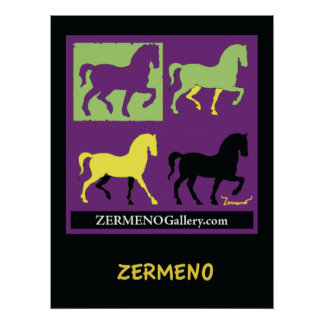 """Four Horses"" Art Poster by Zermeno"