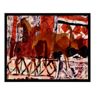 Four Horses Collage Poster