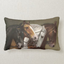 Four Horses Vintage Art Cushion Pillow Lumbar