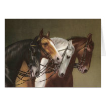Four Horses Vintage Art Greeting Card