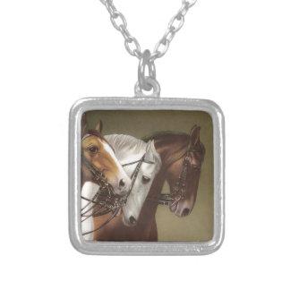 Four Horses Vintage Art Necklace