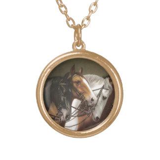 Four Horses Vintage Round Gold Finish Necklace