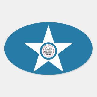 FOUR Houston Flag Oval Sticker
