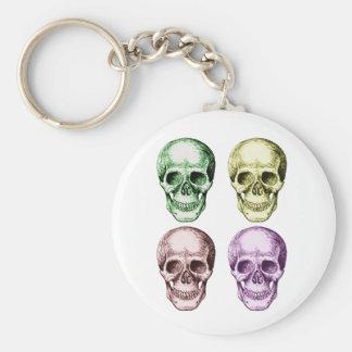 Four human skulls keychain