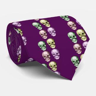 Four human skulls neck tie