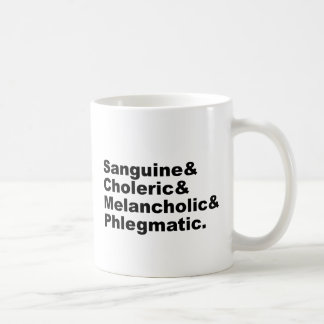 Four Humors Sanguine Choleric Melancholic Phlegm Coffee Mug