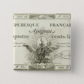 Four hundred livre banknote, 21st September 1792 Button