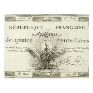 Four hundred livre banknote, 21st September 1792 Postcard