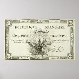 Four hundred livre banknote, 21st September 1792 Poster