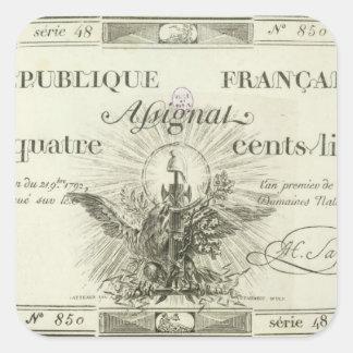 Four hundred livre banknote, 21st September 1792 Square Sticker