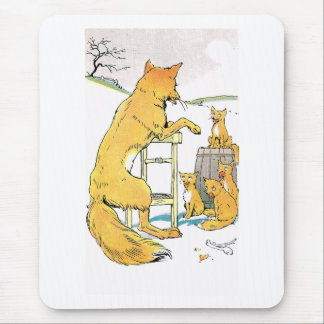 Four Hungry Kits and Father Fox Mouse Pad