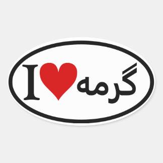 FOUR I [Heart} Garmeh Oval Sticker