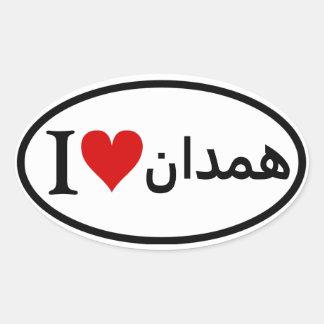FOUR I [Heart] Hamadan Oval Sticker