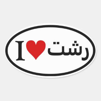 FOUR I [heart] Rasht Oval Sticker