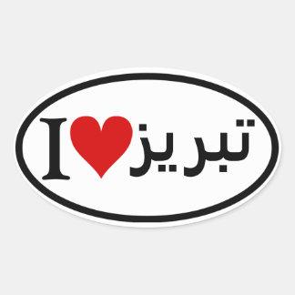 FOUR I [Heart] Tabriz Oval Sticker