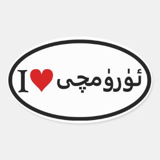 FOUR I [Heart] Ürümqi Oval Sticker