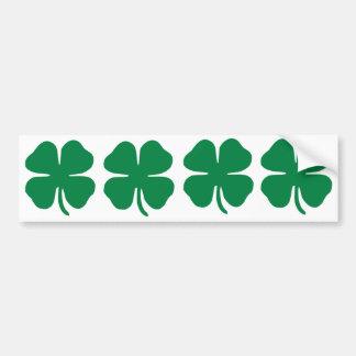 FOUR Irish Shamrock Bumper Sticker