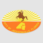 FOUR Jacksonville Flag Oval Stickers