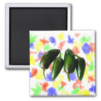 Four Jalapeno Peppers Green Photograph 2 Inch Square Magnet