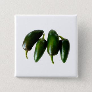 Four Jalapeno Peppers Green Photograph Button